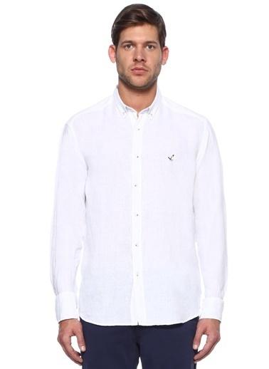Beymen Club %100 Keten Uzun Kollu Gömlek Beyaz